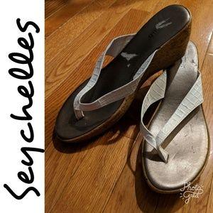 Anthropologie Cork Wedge Sandals by Seychelles!